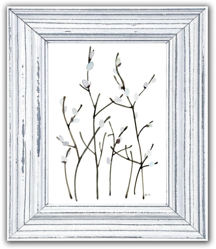 Pussy Willows Contemporary Watercolour Art Print Home Wall Decor