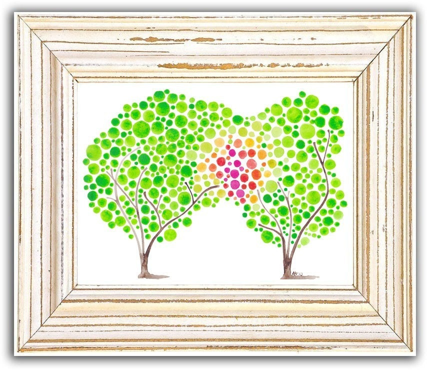 Watercolor Tree Art Blush Print Wall Artwork Bright Colorful Wall Decor