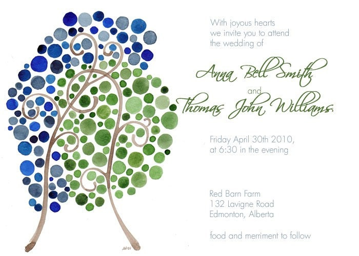 Personalized Wedding Invitation Set Package Watercolour Designs