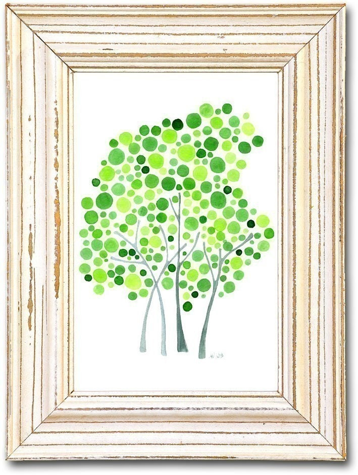 Watercolor Tree Artwork Circle of Friends Art Print of Original Painting Nursery Children Wall Art