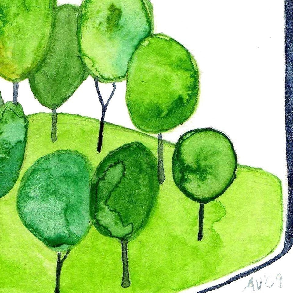 Watercolour Forest Illustration Forest Keepsake Watercolor Art Print