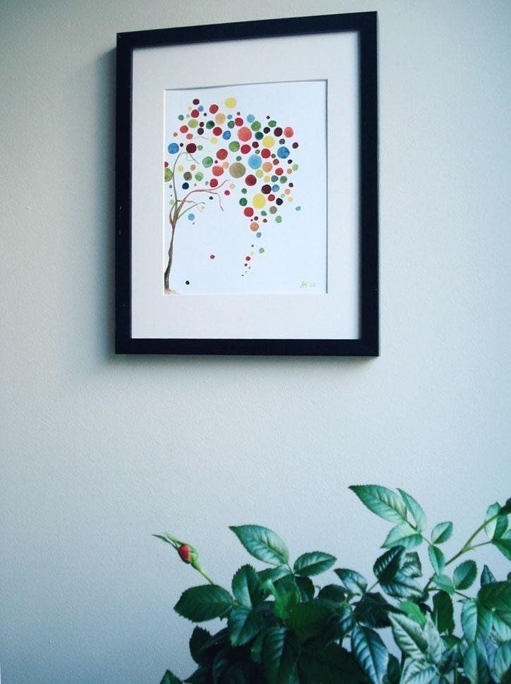 Tree Art Retro Falling Print Watercolour Wall Artwork Neutral Decor