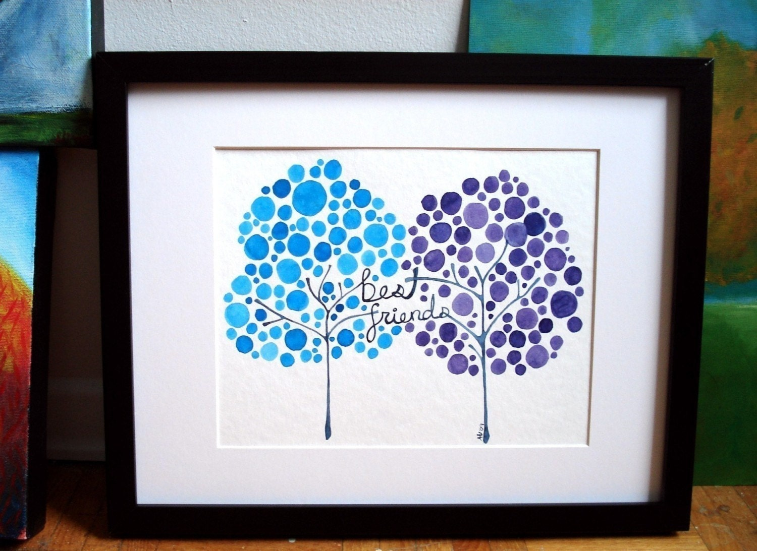 Watercolor Tree Artwork Best Friends Print of Painting Friends Forever Wall Art