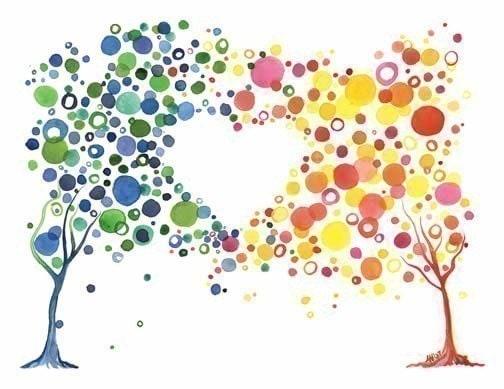 Watercolor Tree Love Art Print Romantic Home Wall Art