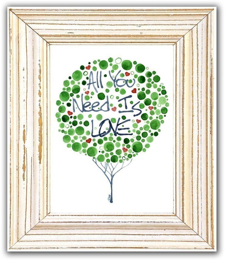 Watercolour Tree All You Need Is Love Print Romantic Wall Art Inspirational Decor