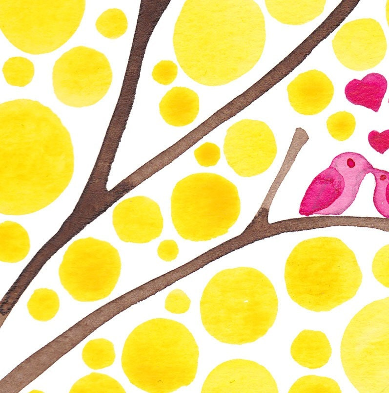 Love Birds Watercolour Art Love is Golden Print Home Wall Art