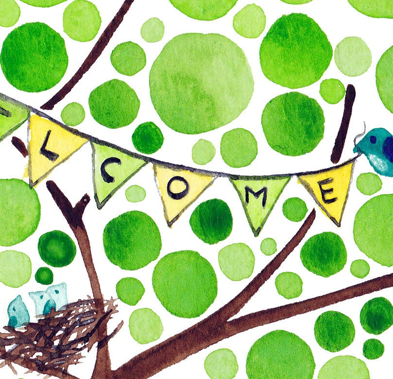 Welcome Watercolour Nursery Art Print for Baby Shower New Baby