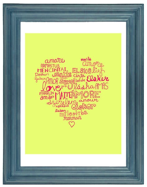 Typography Illustration Languages of Love Digital Print Home Office Wall Art