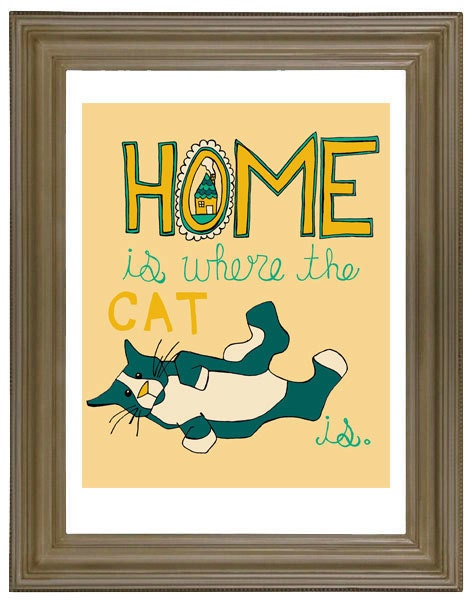 Home Is Where The Cat Is Illustration Art Print Decor