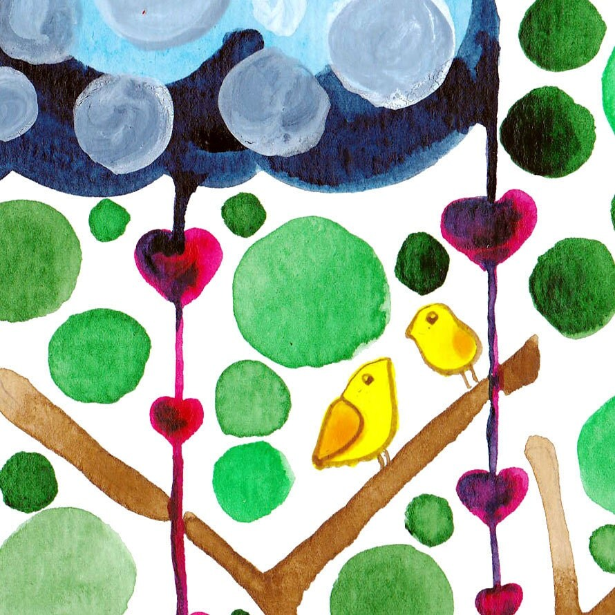 Rain Down On Me Watercolour Print Wall Art for Nursery and Home