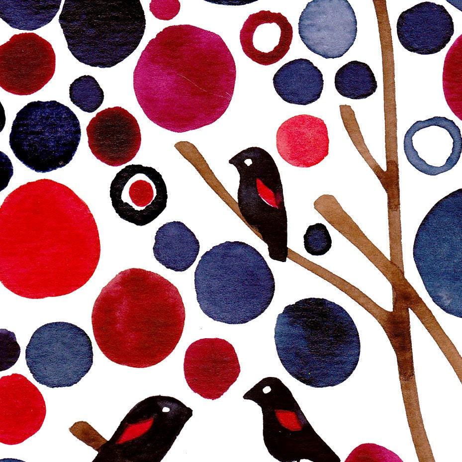Watercolour Landscape Blackbirds Watercolour Art Print Wall Decor Artwork Navy and Red