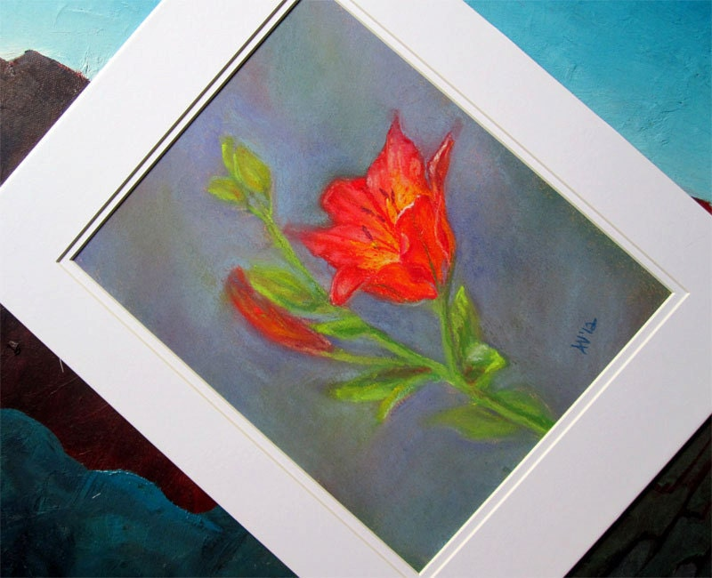 Original Pastel Drawing Radiant Lily Pastel Painting Art Matted and Ready To Frame