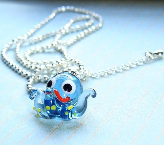 Lampwork octopus kawaii necklace chain silver plated