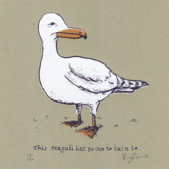 This Seagull 5 by 7 Screenprinted Art Print