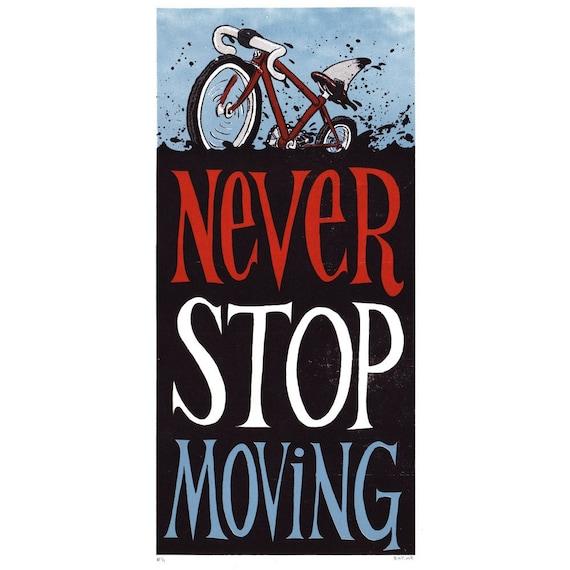 Never Stop Moving Shark Bike Screen Print