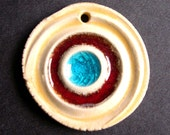 Large Funky Ceramic pendant in Red and Turquoise Stripes Stoneware clay Handmade Ceramic