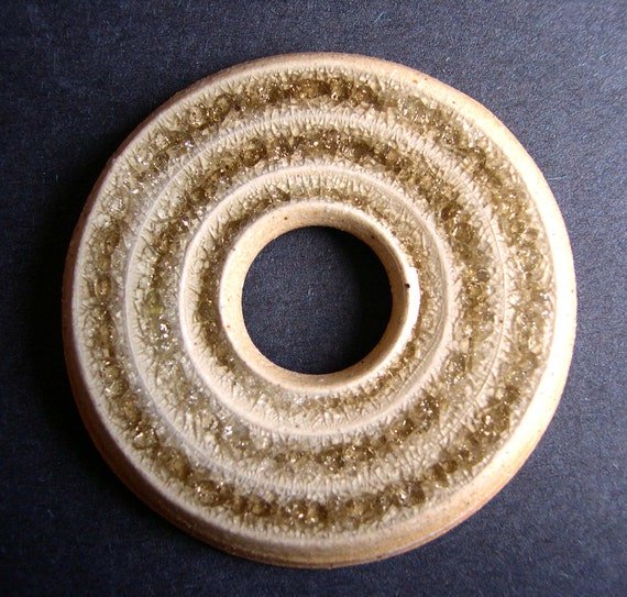 Golden Champagne Wheel Thrown Stoneware Clay and Fused Glass Pendant or Necklace