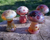 Lampwork Glass Mushroom Sculptures Set of 4