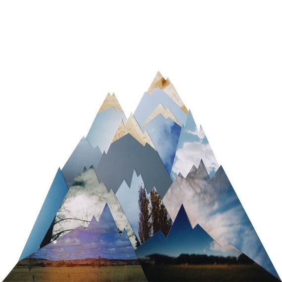 Mountains Wait, 12x12in collage