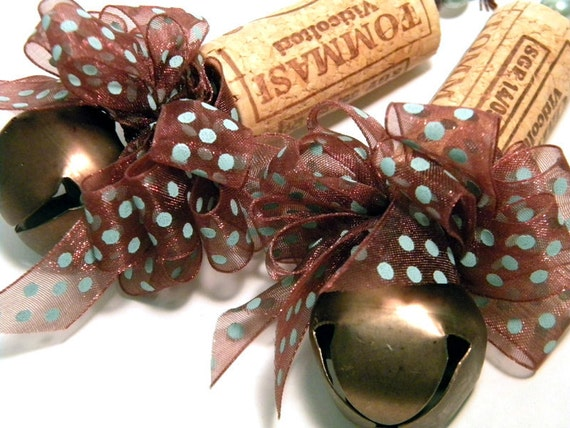 Ten Brown sheer with blue dots  Recycled Corkament Christmas Ornaments
