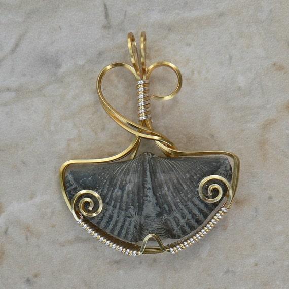 Ginkgo Brachiopod Wire Wrap Pendant
