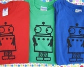 Nervous Robot T Shirt RED GREEN and BLUE Kids Sizes