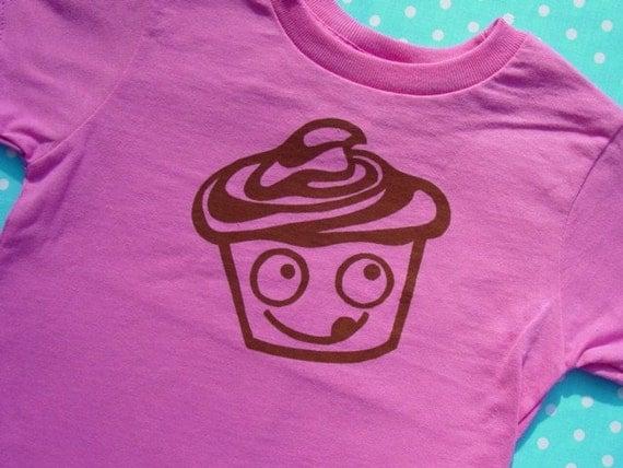 Joe Chocolate Cupcake Screen Printed PINK Toddler T Shirt 2T 3T 4T