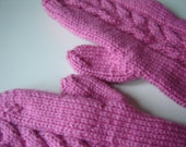 Long Cabled Mittens in rosy pink
