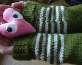 Spring Stripe Mitts - Snowdrop Green and Silver
