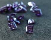 Amethyst CZ Princess Cut Cubic Zirconia Purple Square Loose Faceted Stones 5mm 10 pieces