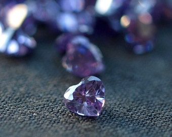 Amethyst CZ Cubic Zirconia Faceted Heart Purple Gemstone Loose Stone 4mm 10 pieces