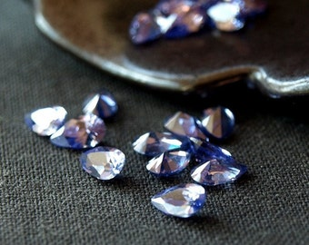 Cubic Zirconia Tanzanite CZ Pear Shape Faceted Gemstone Loose Stones 5mm 10 pieces