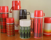 Vintage thermos collection various sizes 8 in all Autumn Fall colors plaid