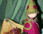 Raspberry harvest Gnome --- Waldorf inspired Finger Puppet playset