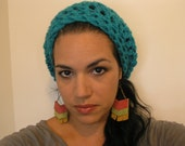 Crocheted Slouch Tam Beanie - Turquoise