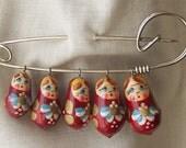 Handpainted Russian Doll Family Brooch