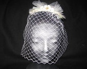 Birdcage wedding veil, feather hairclip - Hair Clip