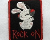Rock on Bunny Patch/Applique