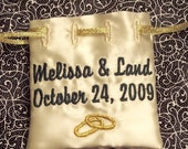 Personalized Embroidered Jewelry Bag for Wedding Rings