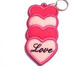 Embroidered Stacked Hearts Lip Balm, USB or Lighter Holder Key Chain