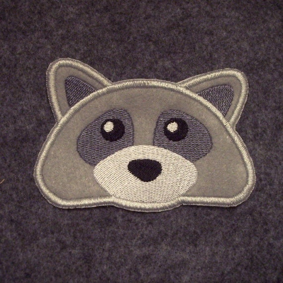 Embroidered Raccoon Face Iron on Patch