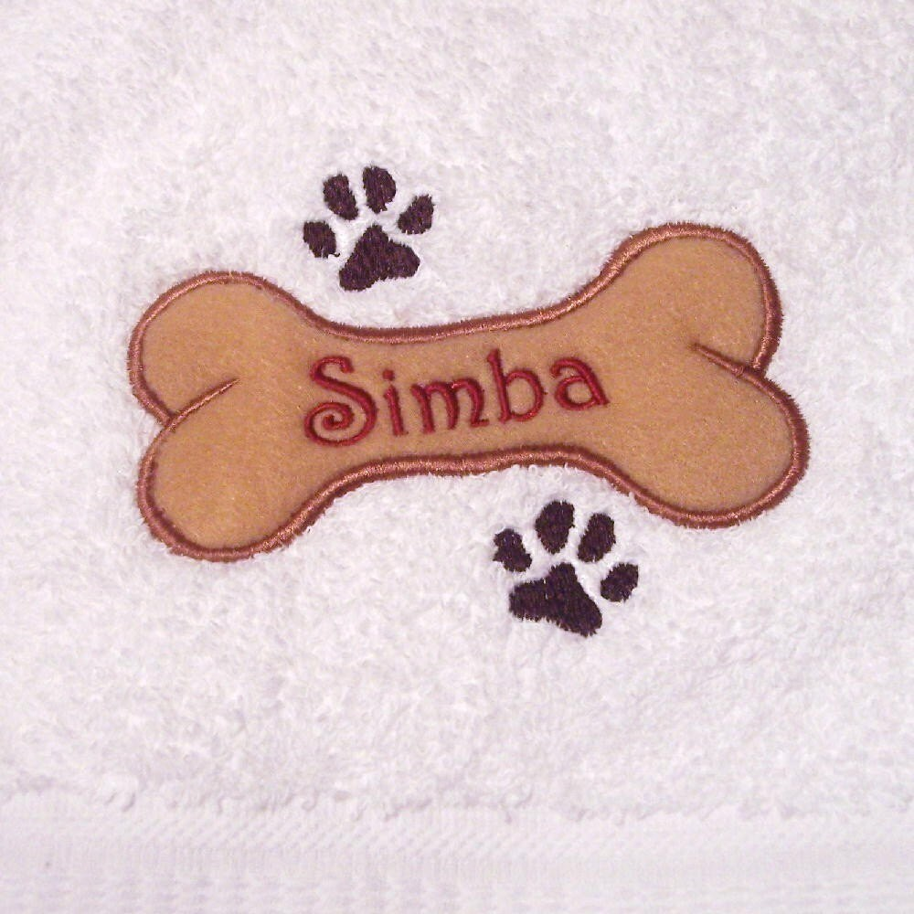 Embroidered Towels Custom: Personalized Embroidered Dog Bath Towel