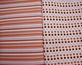 SALE Heather Ross Lightning Bugs Pink\/Orange\/Brown Stripes and Dots half yard set, 1\/2 yd each