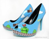 Size US6.5 - Hand-Painted Super Mario Heels - Ready to Ship