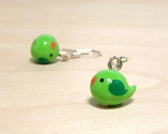 Apple Green Bitty Bird Earrings
