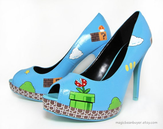 Size US9 - Hand-Painted Super Mario Heels - Ready to Ship
