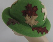 SALE  LEAVES are  FALLING Altered green wool Hat