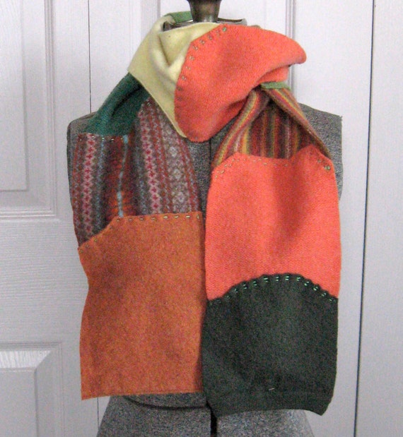 Felted Scarf made from recycled sweaters IT IS FALL 145