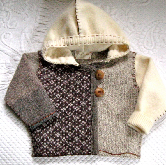 PETER  Baby Hoodie made from Recycled Sweaters 417