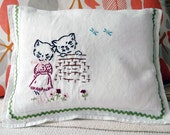 Cowgirl Kitty Vintage Linen Napkin Nursery Pillow- Reserved for K.S.